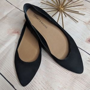Lucky Brand Suede Leather Pointed Black Flats